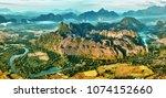 aerial bird's eye sunrise time... | Shutterstock . vector #1074152660