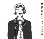 old fashioned gentleman...   Shutterstock .eps vector #1074156080