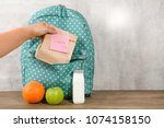 mother preparing for her... | Shutterstock . vector #1074158150