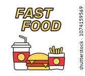 fast food snacks and drinks... | Shutterstock .eps vector #1074159569