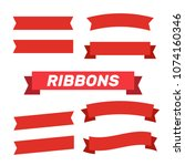flat vector ribbons banners... | Shutterstock .eps vector #1074160346