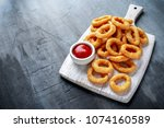 Fried Onion Rings With Ketchup...