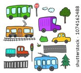 cute cartoon doodle city... | Shutterstock .eps vector #1074162488