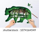 concept of world wildlife... | Shutterstock .eps vector #1074164549