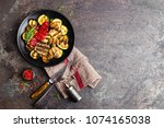 grilled vegetable salad. salad... | Shutterstock . vector #1074165038