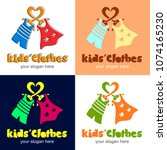 kids clothes. logotype with... | Shutterstock .eps vector #1074165230