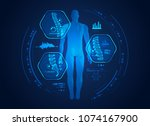 graphic of man s back x ray... | Shutterstock .eps vector #1074167900