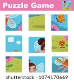 puzzle for children featuring a ... | Shutterstock .eps vector #1074170669