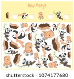 counting game for preschool... | Shutterstock .eps vector #1074177680
