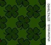 seamless pattern with four leaf ... | Shutterstock .eps vector #1074178490