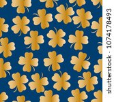 seamless pattern with four leaf ... | Shutterstock .eps vector #1074178493
