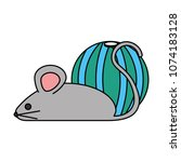 little mouse with ball | Shutterstock .eps vector #1074183128