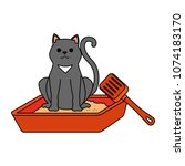 cute cat mascot in the sand box ... | Shutterstock .eps vector #1074183170