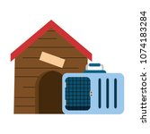 wooden house pet with transport ... | Shutterstock .eps vector #1074183284
