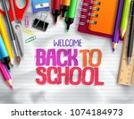 back to school vector... | Shutterstock .eps vector #1074184973