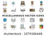 Set of 20 Miscellaneous Minimal Flat Line Icons. Science, Atom, Pedagogy, Vintage Telephone and Radio, Literature, Blimp, Learning, Printer, Restroom, Elevator, Helm, Presentation, Puzzle.