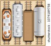 railway locomotive and wagons.... | Shutterstock .eps vector #1074189758