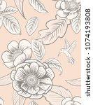 flowers and birds of... | Shutterstock .eps vector #1074193808