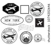 travel stamps and postmarks.... | Shutterstock .eps vector #1074202646