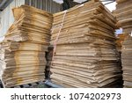 paper pile and piece of... | Shutterstock . vector #1074202973