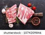 fresh pork ribs with... | Shutterstock . vector #1074209846