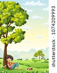 boy is sitting unter a tree and ... | Shutterstock .eps vector #1074209993