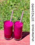 fresh smoothies from a dragon... | Shutterstock . vector #1074214490