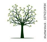 green tree. vector illustration.... | Shutterstock .eps vector #1074214934