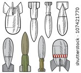 Doodle style bomb, shell, and explosive illustration in vector format.  Set includes a variety of types that might be dropped from planes, shot from cannons or guns, and used by tanks. - stock vector