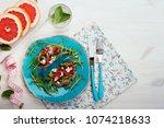 light breakfast in a... | Shutterstock . vector #1074218633