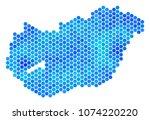 blue hexagon hungary map....   Shutterstock .eps vector #1074220220