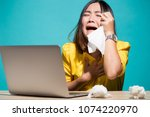woman so sad when she look at... | Shutterstock . vector #1074220970