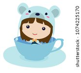 mouse in teacup. cartoon... | Shutterstock .eps vector #1074225170