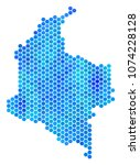 hexagon blue colombia map.... | Shutterstock .eps vector #1074228128