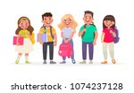 group of happy pupils.boys and... | Shutterstock .eps vector #1074237128