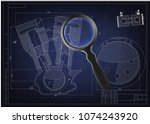 machine building drawing.... | Shutterstock .eps vector #1074243920
