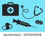 medicine.  first aid kit ... | Shutterstock .eps vector #1074244028