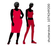 slim and fat girl  silhouettes... | Shutterstock .eps vector #1074249200