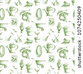 seamless pattern with green... | Shutterstock . vector #1074250409