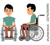 flat people with disabilities | Shutterstock .eps vector #1074250490