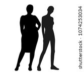slim and fat girl  silhouettes... | Shutterstock .eps vector #1074253034