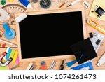 top view flat lay. blackboard... | Shutterstock . vector #1074261473