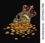 embroidery crown  king skull...   Shutterstock .eps vector #1074261788