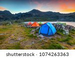 amazing mountain camping place  ... | Shutterstock . vector #1074263363