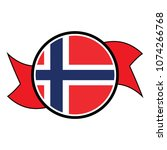 norway flag in glossy round... | Shutterstock .eps vector #1074266768