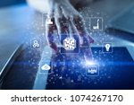 microchip  cpu  processor ... | Shutterstock . vector #1074267170