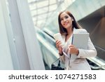 business woman she is going to... | Shutterstock . vector #1074271583