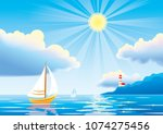 Vector Day Seascape With...