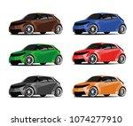 hatchback different color set | Shutterstock .eps vector #1074277910