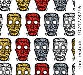 pattern of the horrendous masks | Shutterstock .eps vector #1074278216